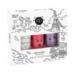 'City' set of 3 (Glitter Top Coat/Purple Glitter/Pink Glitter) - nailmatic® kids - water based nail polish